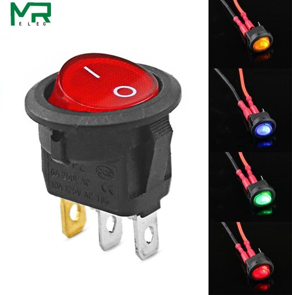 1 pièces 12V LED interrupteur à bascule 20A 12V interrupteur interrupteur d'alimentation voiture bouton lumières marche/arrêt 3pin interrupteur à bascule rond tableau de bord bateau