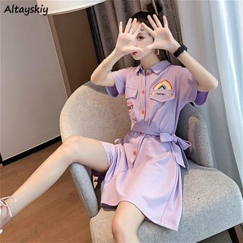 Rompers Women Lovely Rainbow Printed Trendy Summer Chic Lace-up Harajuku Teens Streetwear Leisure Ladies Lavender Romper Newest 1