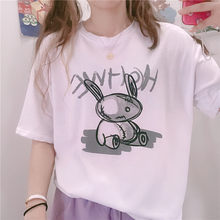 Women White Short-sleeve T-shirt Loose Female 2020 new Summer Ins Student Japanese BF Style Rabbit Print pullover Tops Mori Girl(China)