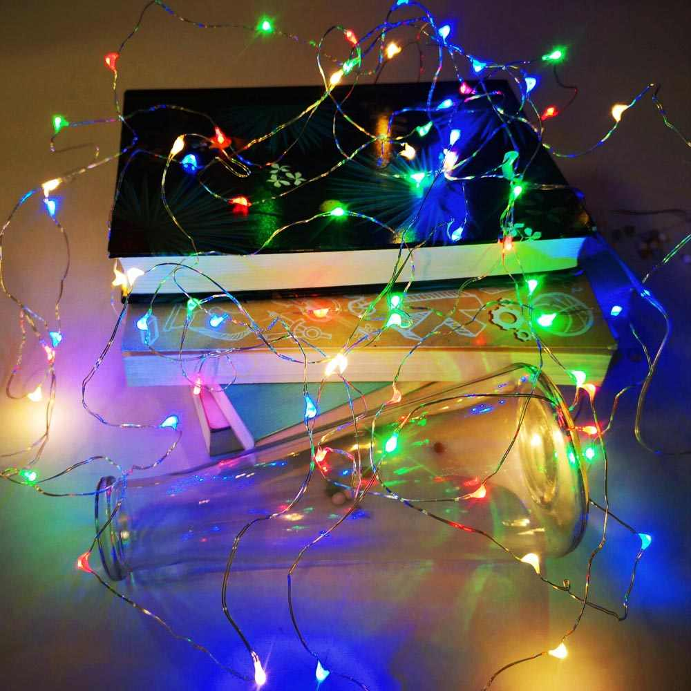 LED ضوء سلسلة الشظية سلك مرنة الأبيض/الدافئة أبيض/متعددة اللون 1M 2M 3M 5M 10M 12M الديكور عيد الميلاد حزب الزفاف