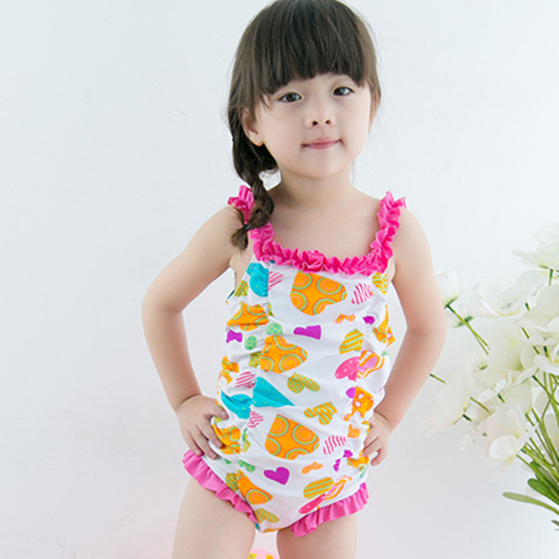 Special Offer Closeout KID'S Swimwear Baby Infants Cute GIRL'S Colored Loving Heart Printed One-piece Hot Springs Swimwear