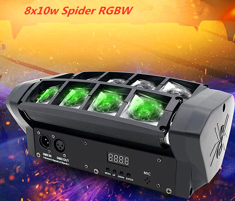 Moving Head Light Mini LED Spider 8x10W RGBW Beam Light Good Quality Fast Shipping