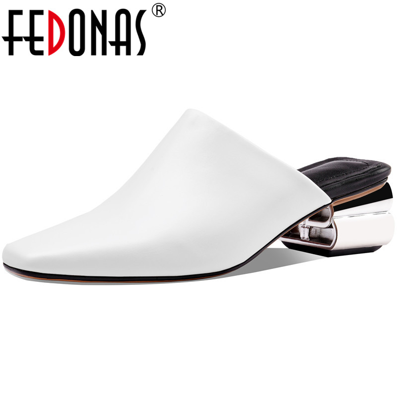 FEDONAS 2020 Slingbacks Genuine Leather Women Mules Concise Square Toe Thick Heels Pumps Classic Design Casual Basic Shoes Woman