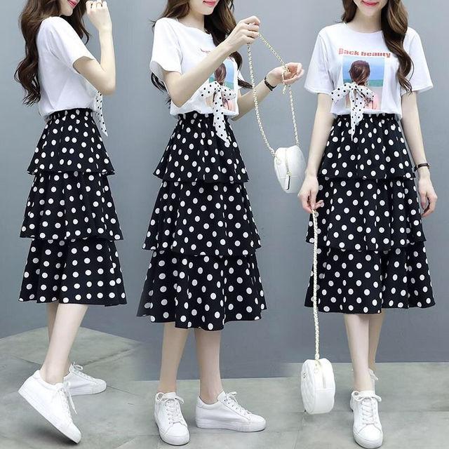 Summer Big Size Slim T-shirt Skirts Set for Women 2021 New Girl Student Sweet Print Polka Dot Dress Fashion Ribbon Bow-knot Tops 3