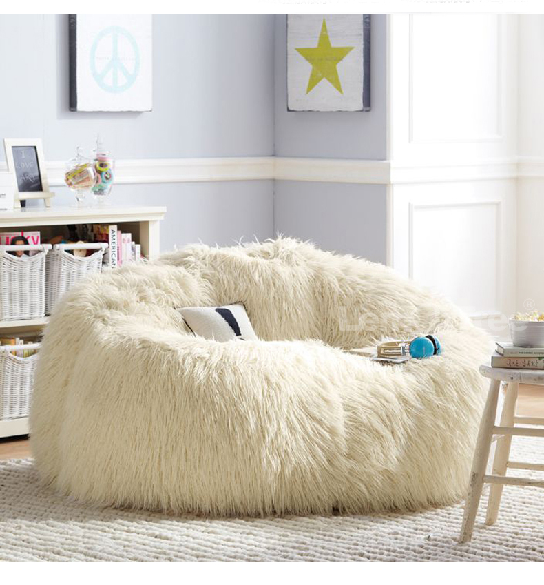 Soft Fluffy Wool Fur Bean Bag Cover Without Filler Sofa Lazy Couch Chair Kids