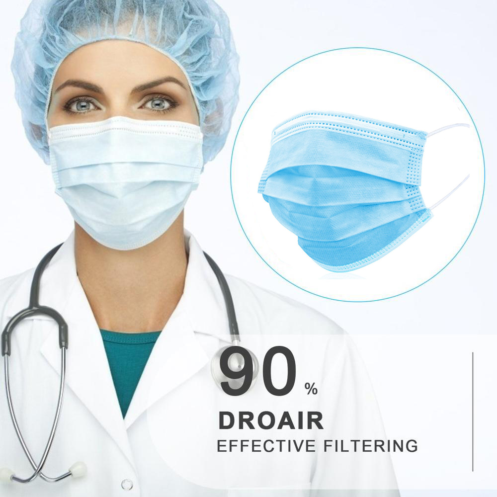 10/30/50/100pcs Blue Prevent Bacteria Mouth Face Mask Disposable Non-Woven 3-layer Filter Unisex Anti-dust Mouth Nose Proof Mask