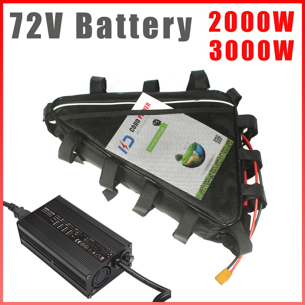 Batería de bicicleta eléctrica, 72V, 30AH, 1000W, 2000W, 3000W, bolsa triangular, batería de litio