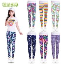 SLAIXIU; мягкие леггинсы для девочек; одежда для маленьких девочек; узкие брюки; хлопковые детские брюки с цветочным принтом; обтягивающие детские леггинсы для девочек