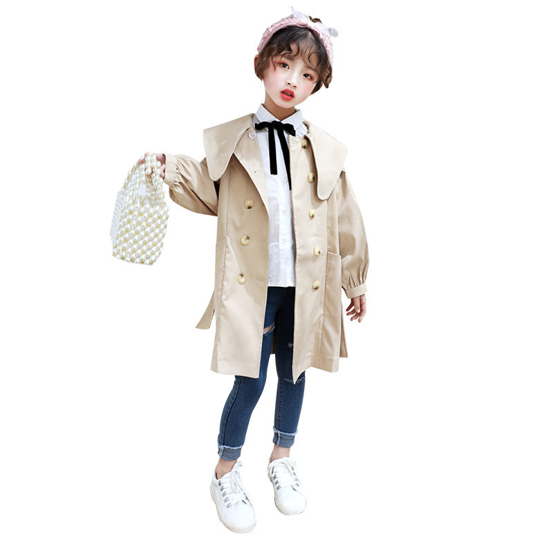 Купить с кэшбэком Girls Trench Coats Double Breasted Jackets For Girls Clothing Tops Kids Windbreaker Spring Autumn Outerwear Kids Clothes Jacket