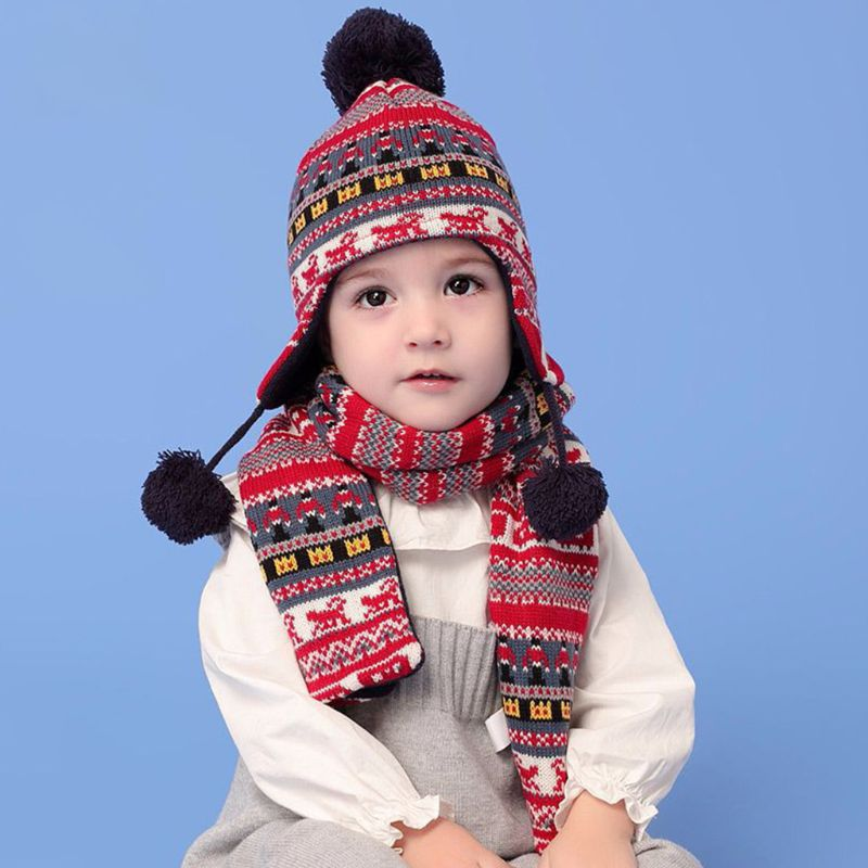 Toddler Kids Winter Fluffy Pompom Thermal Lining Earflap Beanie Cap Long Scarf