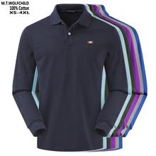 Di alta Qualità 2020 degli uomini di Autunno manica Lunga Polo shirt 100% cotone XS 4XL casual mens di colore solido polo camicie di moda mens top