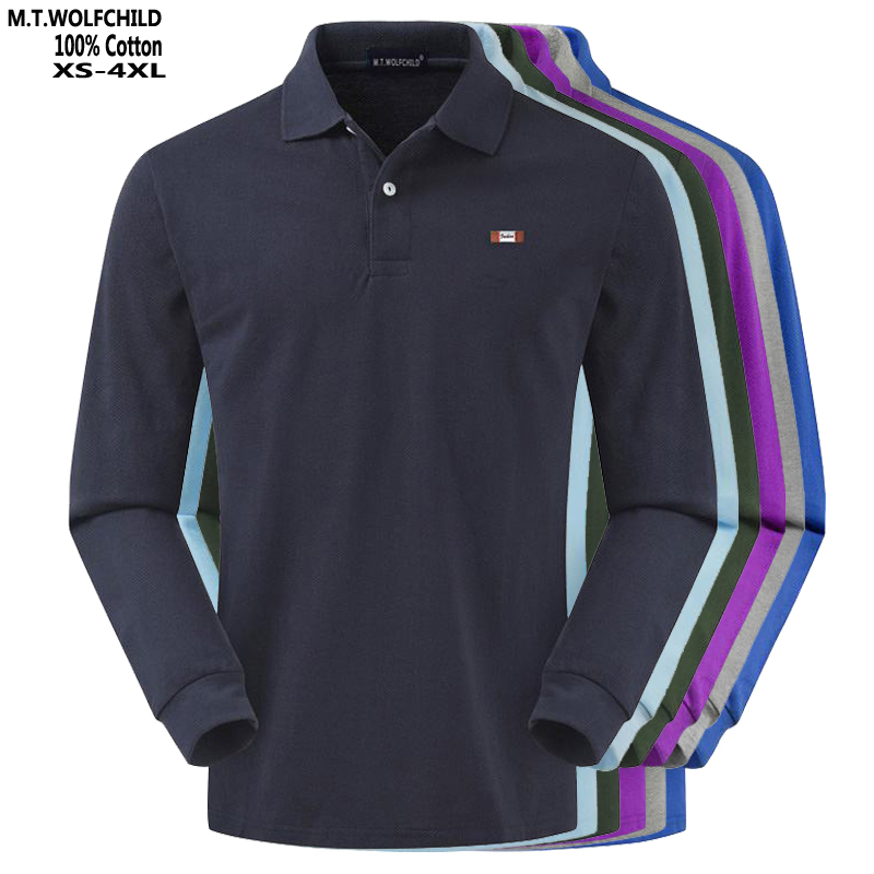 Top quality 2019 Autumn Men's long sleeve   polos   shirts 100% cotton XS-4XL casual solid color mens   polos   shirts fashion mens tops