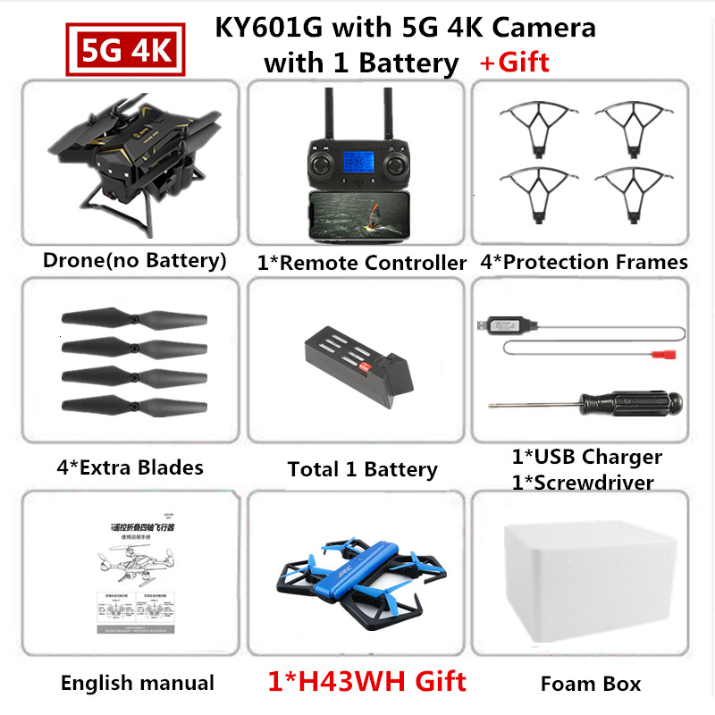 RC Drone KY601G GPS Quadcopter with 5G 4K HD Camera 2000 Meters Control Distance Pro Selfie Follow Me Quadrocopter Toy VS E520S