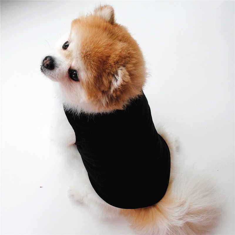 ペット用品犬服の夏の tシャツブラックホワイト犬のベストかわいい甘いソリッドカラー快適なファッションピンク薄型シャツ