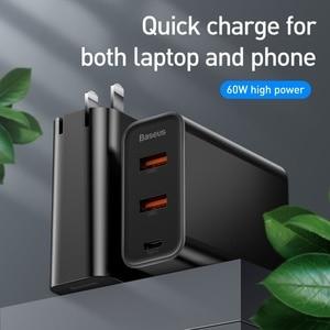 """Image 3 - Baseus 60W Usb מטען USB סוג C מהיר מטען להקה כפולה Usb חריץ בארה""""ב מתאם טלפון טעינה נסיעות מטען קיר עם 1M"""