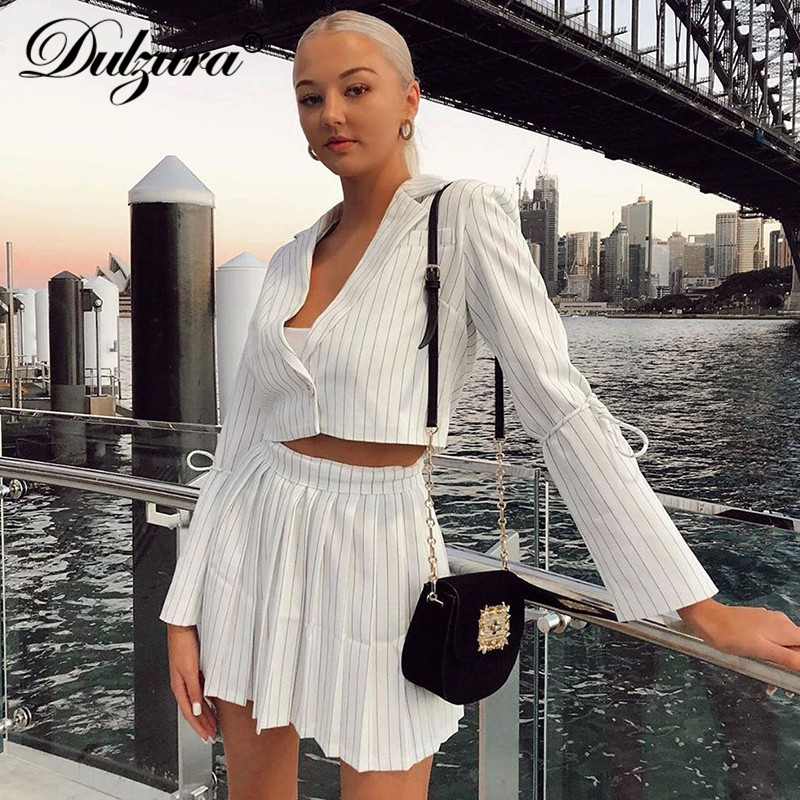 Dulzura 2019 Autumn Winter Women Two Piece Blazer Set Stript Crop Top Mini Pleated Skirt Co Ord Suit Office OL Coats Outwear
