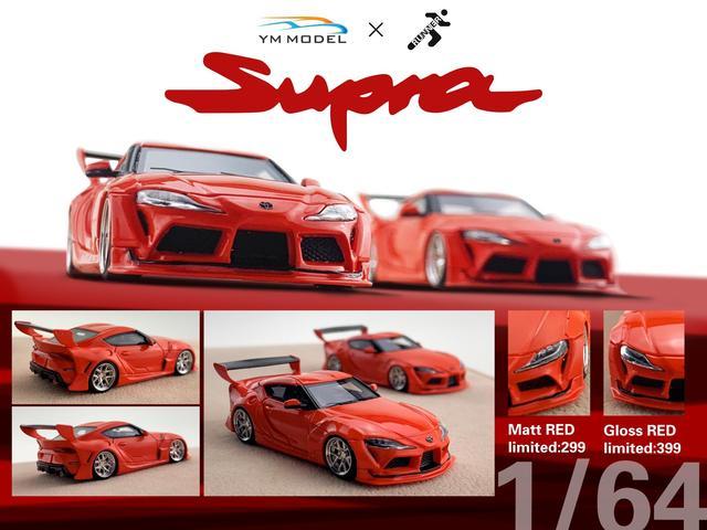 YM Model 164 Toyota Supra A90 Red Resin Model Car