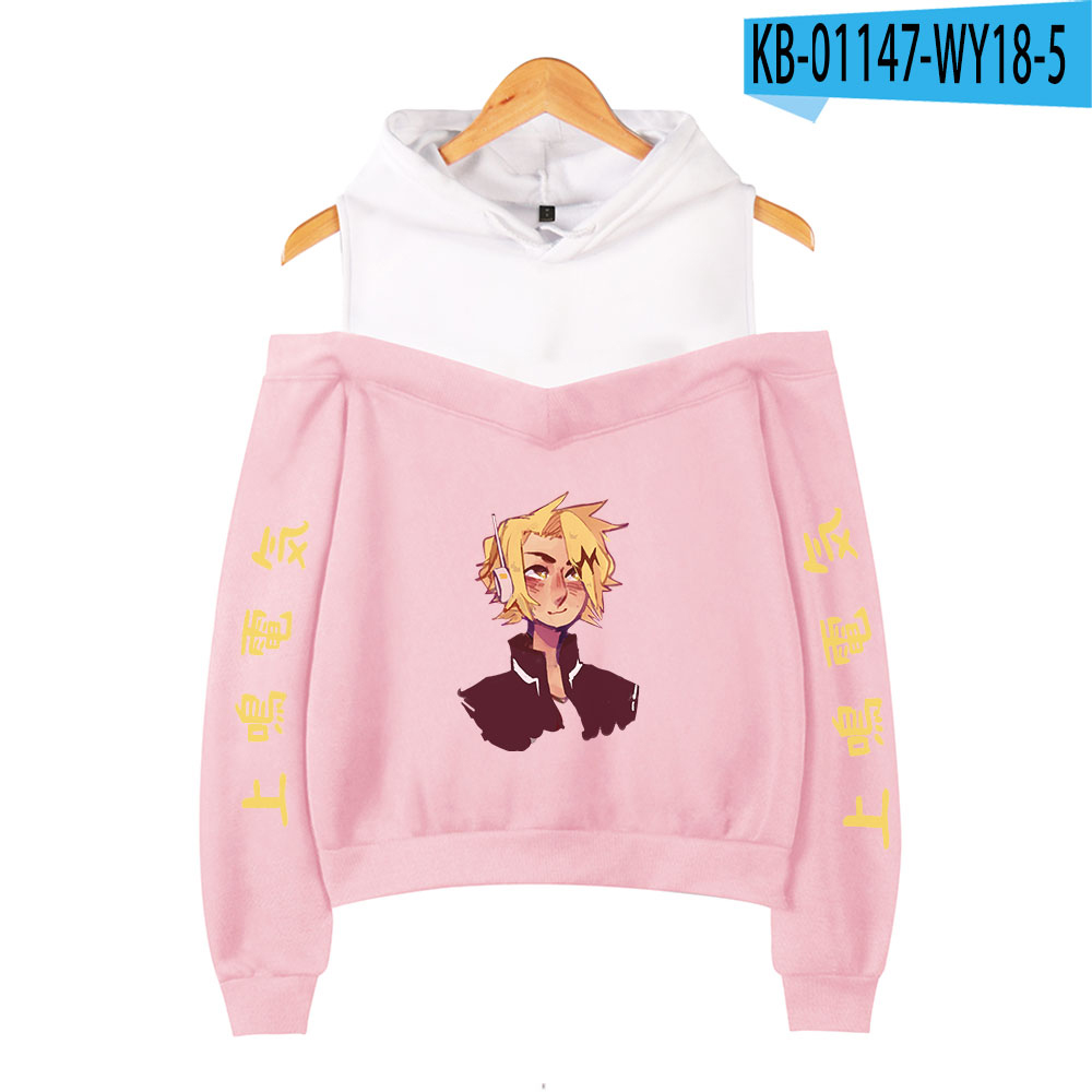My Hero Academia Hoodies Female Off Shoulder Sweatshirt Women's Pullover Harajuku Streetwear Denki Kaminari 2021 Anime Clothes 17