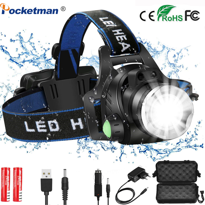 Led Headlamp Camping Light L2/T6 3 Modes Zoomable Waterproof Headlamp Led Powered By 2*18650 Battery Or USB Charging For Fishing