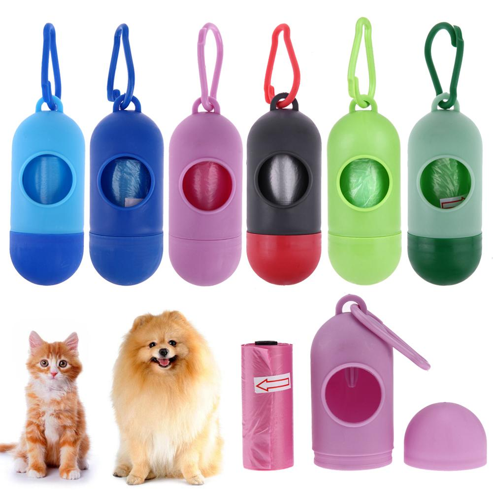 Portable Pet Poop Bag Dispenser Colorful ABS Carrier Holder Capsule With Disposable Garbage Bag Dog Cat Cleaning Accessories