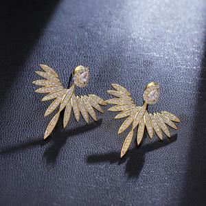 Image 3 - Pendientes grandes con pasador de Ángel brillante y elegante para mujer, joyería de moda brincos ohringe Boucle Doreille