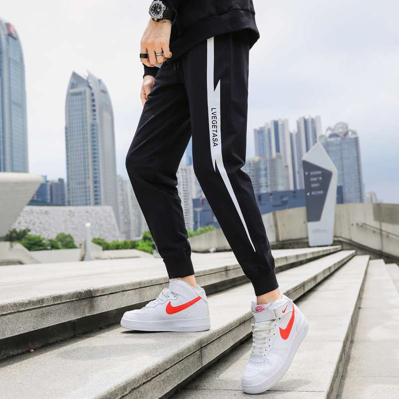 MEN'S Trousers Korean-style Sweatpants Spring And Autumn Closing Casual Pants Teenager Loose-Fit Beam Leg Sports Harem Pants Ski