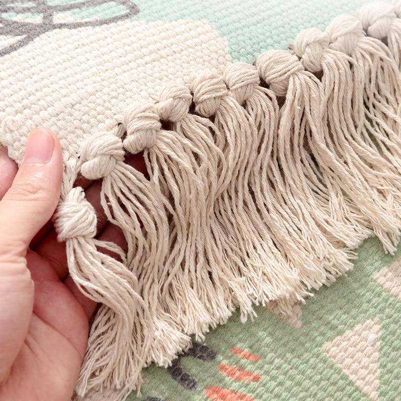 Beautiful Flowers Pattern Hand Woven Carpet Home Decor Non Slip Bedroom Bedside Area Rug Tassel