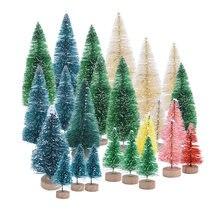 5 piezas Mini árbol de Navidad falso Pino bricolaje colorido Utilería de la foto de Navidad para la decoración de la Mesa de la fiesta de Navidad decoración del hogar del Año Nuevo