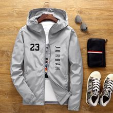 Hot Sale Brand Men's Spring And Autumn New Aviator Jacket Men And Women Casual Windbreaker Printed Zipper Thin Hooded Cas