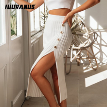 IUURANUS High Waist Autumn Winter Skirt Button Side Ribbed Knit Split Solid Slim Long Skirt Elasticity women elegant skirt