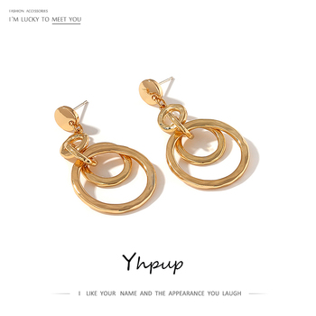 Yhpup New Charm Round Geometric Dangle Earrings Gold Vintage Earrings Minimalist Metal Retro Jewelry for Female.jpg 350x350 - Yhpup New Charm Round Geometric Dangle Earrings Gold Vintage Earrings Minimalist Metal Retro Jewelry for Female Office Oorbellen