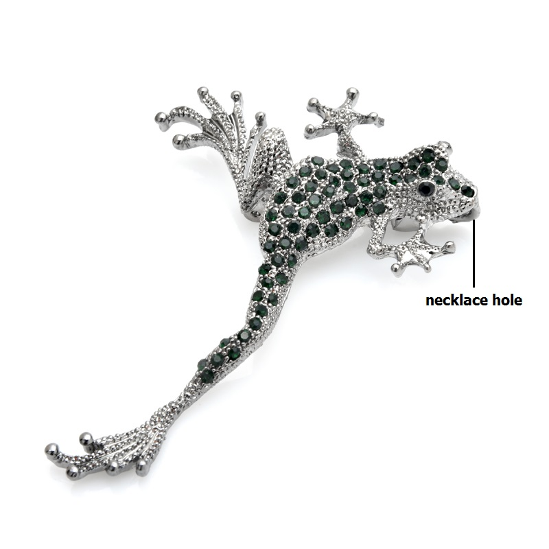 Wuli&baby Green Rhinestone Frog Brooches Metal Lovely Jumping Frog Animal Brooch Pins Gifts 4