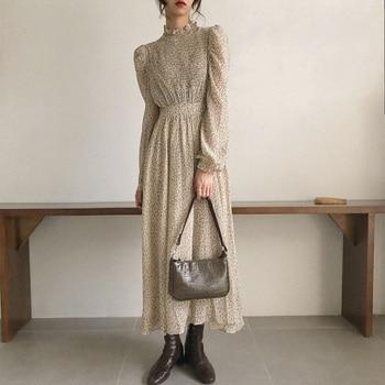 BGTEEVER Vintage Stand Collar Ruched Sleeve A-line Dress Women Floral Print Elastic Waist Female Dress Spring Vestidos femme 202 1