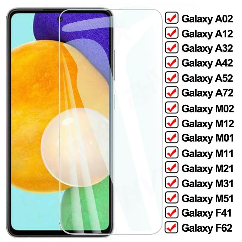 9D Completo Vidro De Proteção Para Samsung Galaxy A02 A12 A32 A42 A52 A72 F41 F62 Protetor de Tela M02 M12 M01 M11 M21 M31 M51 Vidro