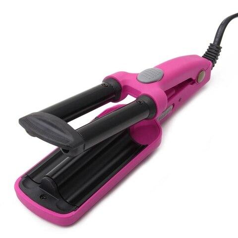 Salão de Beleza Rosa Plug Mini Cerâmica Cabelo Crimper Curler Curling Ferro Tong Ondulação Varinha Rolo uk Mod. 106385