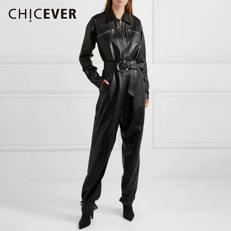 CHICEVER Casual PU Leather Jumpsuits For Women Lapel Collar Long Sleeve High Waist Straight Jumpsuit Female Fashion 2020 New