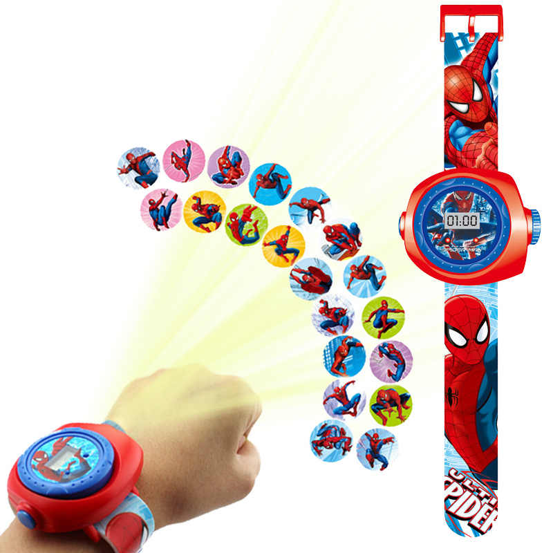 Nieuwe Prinses Spiderman Kids Horloges Projectie Cartoon Patroon Digitale Kind Horloge Voor Jongens Meisjes Led Display Klok Relogio