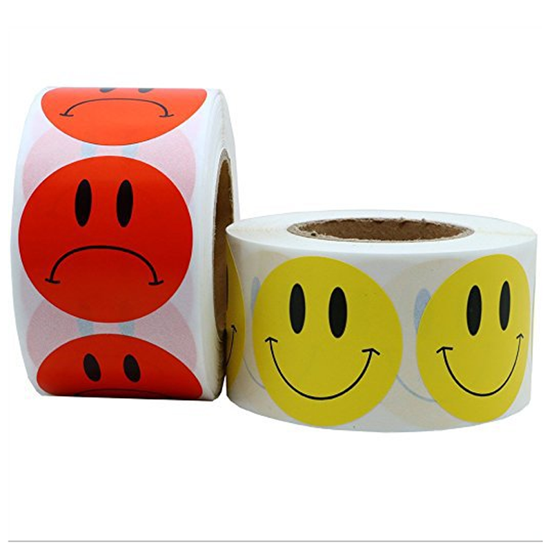 500 Labels Per Roll Cute Round Sad/ Smile Face Stickers For Seal Labels Adhesive Reward Sticker For Children Decoration Party