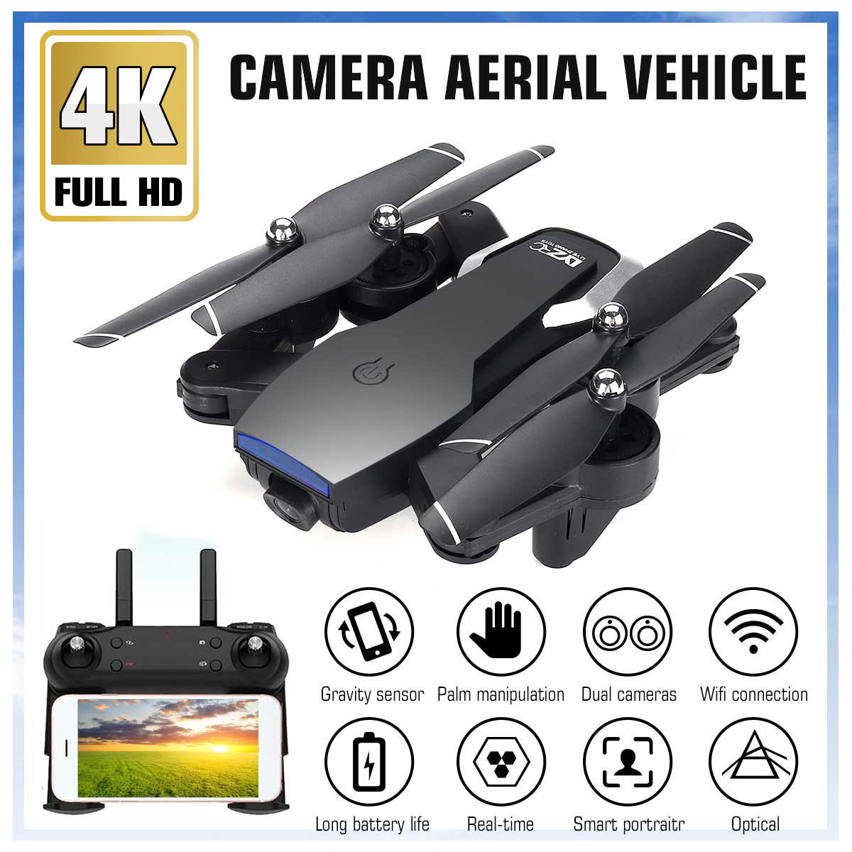 2 4G L107 1080P Dual Wifi Cameras Drone 120M RC Drone GPS Full Wide-Angle Camera APP RC Camera Drone GPS