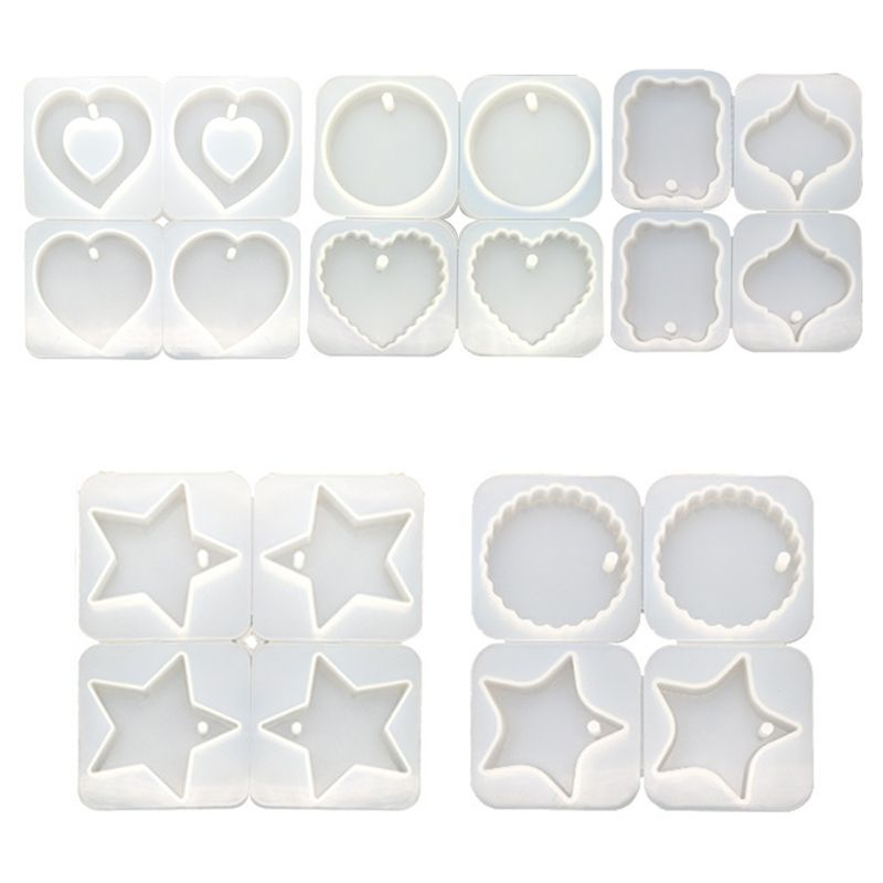 4 Pcs/set DIY Crystal Epoxy Hanging Jewelry Making Mould Heart Shaped Round Wave Pendant Jewerly Resin Silicone Mold