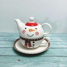 Christmas  cartoon pottery mother pot one cup folded flower tea milk childrens tableware