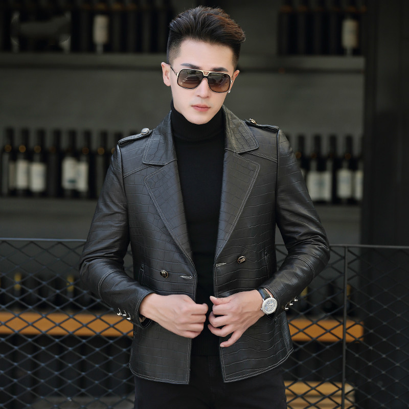 Leather Jacket Short Sheepskin Coat Spring Genuine Leather Jackets Korean Double Breasted Suit Blazer P-XSL99523 KJ1608