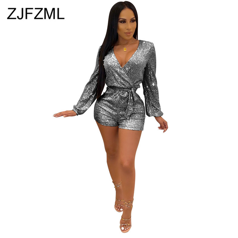 Deep V Neck Sexy Sequin Playsuit Women Long Sleeve Bodycon Short Jumpsuit Autumn High Waist Belted Bandage Club Party Romper