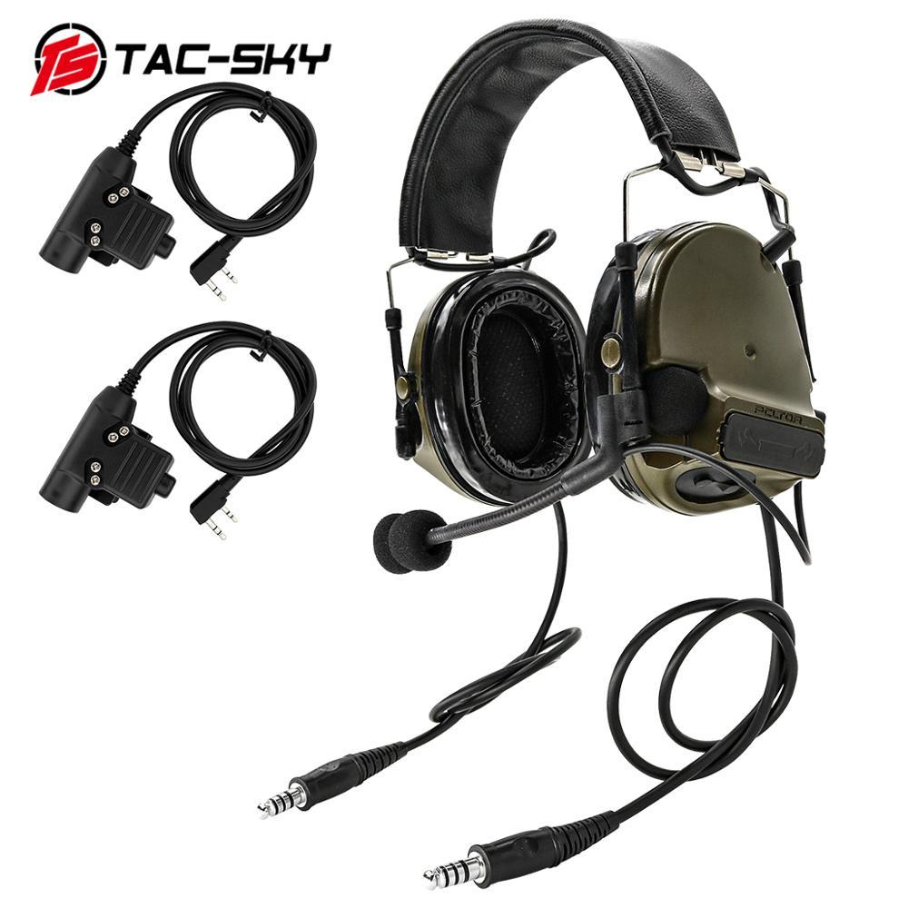 Купить с кэшбэком TAC-SKY COMTAC III double pass silicone earmuffs tactical headset with two KENWOOD BAOFENG2 needles Black U94 PTT-FG