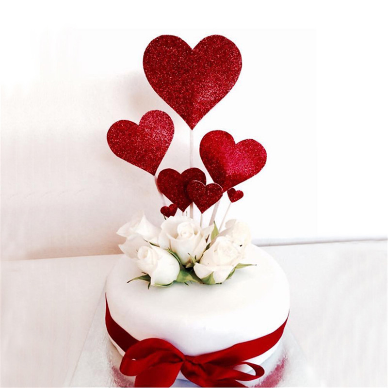 Cakelove 7pcs/Set Red Gold Heart Shape Cake Topper With Toothpick Cake Decorations For Wedding Birthday Party Cute Lovely Gifts