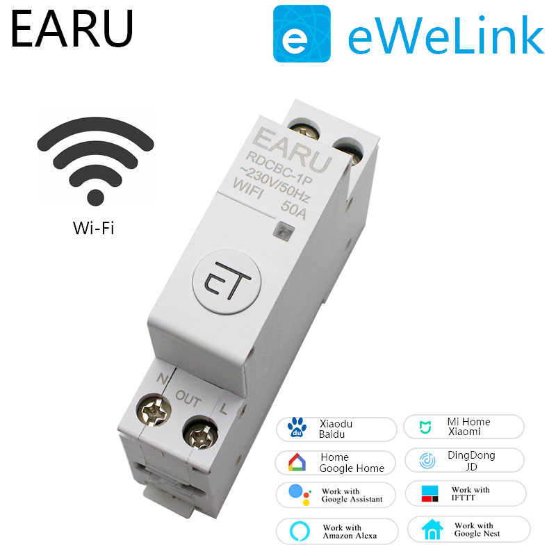 1P DIN Rail Wifi Circuit Breaker Smart Timer Switch Relay Remote Control dengan Ewelink APP Smart Rumah Compatiable dengan alexa Google