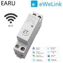 1 p trilho din interruptor de circuito wi fi interruptor temporizador inteligente relé controle remoto por ewelink app casa inteligente compatível com alexa google