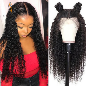 Lace Front Human Hair Wigs Curly Pelucas de mujer largo парик 13*4 Afro Kinky Curly Lace Frontal Wig(China)