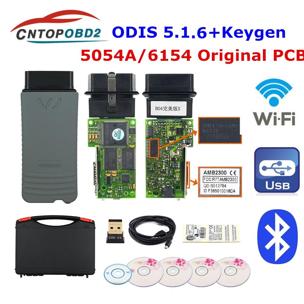 Original OKI 5054A ODIS V5.1.3 Bluetooth AMB2300 Chip 6154 ODIS 5.1.5 odis 5.1.6 5054A UDS Chip completo para VW/AUDI herramienta de diagnóstico