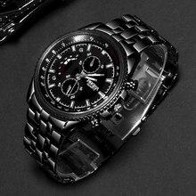 ROSRA Watch Black Men Sports Watches Stainless Steel Quartz Fashion Military Relogio Masculino horloge mannen